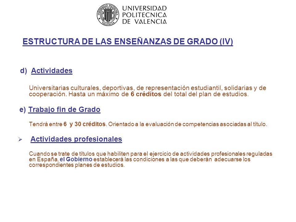 ESTRUCTURA DE LAS ENSEÑANZAS DE GRADO (IV) d) Actividades Universitarias culturales, deportivas, de representación estudiantil, solidarias y de cooperación.