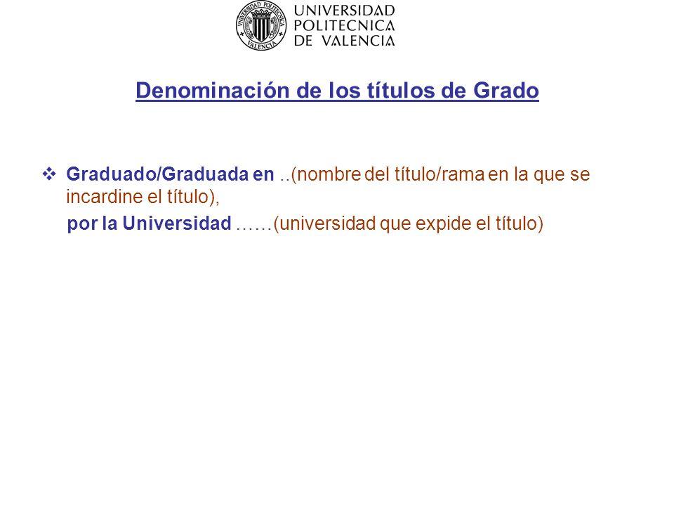 Denominación de los títulos de Grado Graduado/Graduada en..(nombre del título/rama en la que se incardine el título), por la Universidad ……(universidad que expide el título)