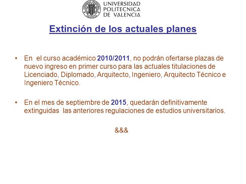 Extinción de los actuales planes En el curso académico 2010/2011, no podrán ofertarse plazas de nuevo ingreso en primer curso para las actuales titulaciones de Licenciado, Diplomado, Arquitecto, Ingeniero, Arquitecto Técnico e Ingeniero Técnico.