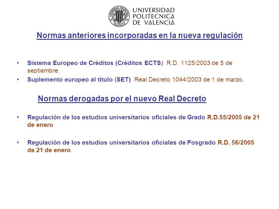 Incorporación en el Sistema Universitario Español de los Acuerdos de Bolonia Ley Orgánica de Universidades 6 /2001 de 21 de diciembre, modificada por Ley 4/2007 de 12 de abril ( Título XIII) Espacio Europeo de Educación Superior.