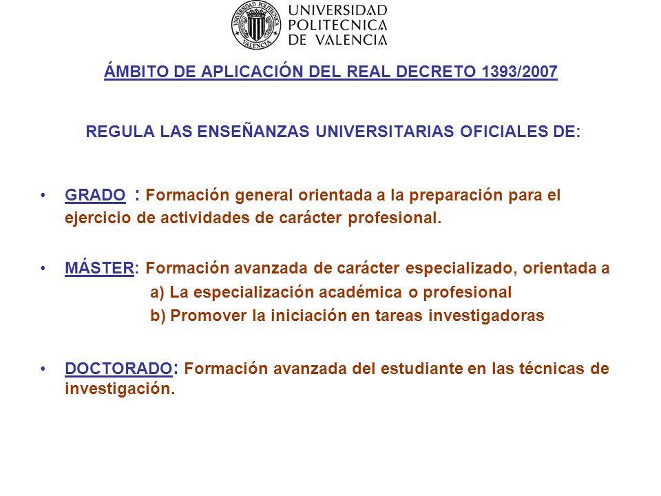 Nueva regulación Real Decreto 1393/2007 1er ciclo GRADO Título de GRADUADO MASTER DOCTOR Posgrado 3 er CICLO DOCTORADO 2º CICLO