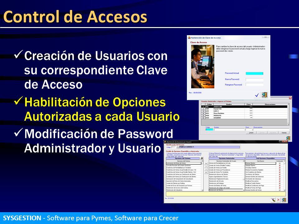 Control de Accesos Creación de Usuarios con su correspondiente Clave de Acceso Habilitación de Opciones Autorizadas a cada Usuario Modificación de Pas
