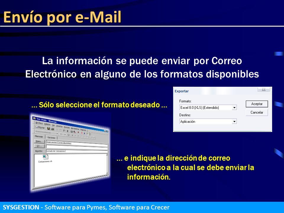 Envío por e-Mail La información se puede enviar por Correo Electrónico en alguno de los formatos disponibles... Sólo seleccione el formato deseado....