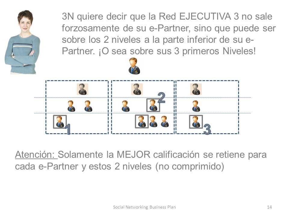 14Social Networking Business Plan 3N quiere decir que la Red EJECUTIVA 3 no sale forzosamente de su e-Partner, sino que puede ser sobre los 2 niveles a la parte inferior de su e- Partner.
