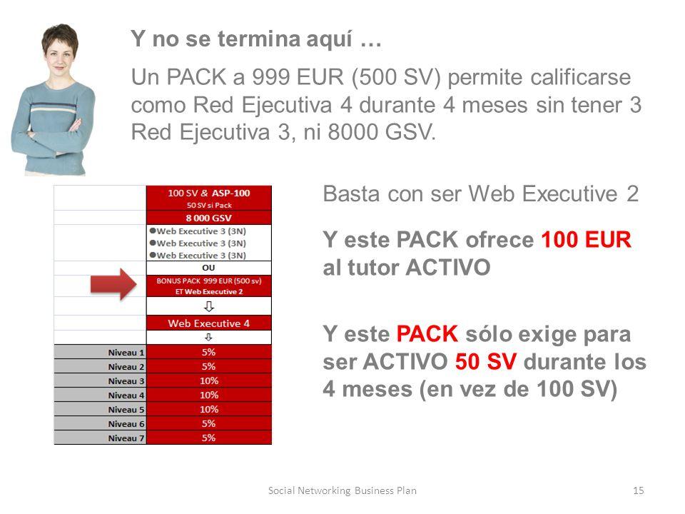 15Social Networking Business Plan Y no se termina aquí … Basta con ser Web Executive 2 Y este PACK ofrece 100 EUR al tutor ACTIVO Y este PACK sólo exige para ser ACTIVO 50 SV durante los 4 meses (en vez de 100 SV) Un PACK a 999 EUR (500 SV) permite calificarse como Red Ejecutiva 4 durante 4 meses sin tener 3 Red Ejecutiva 3, ni 8000 GSV.