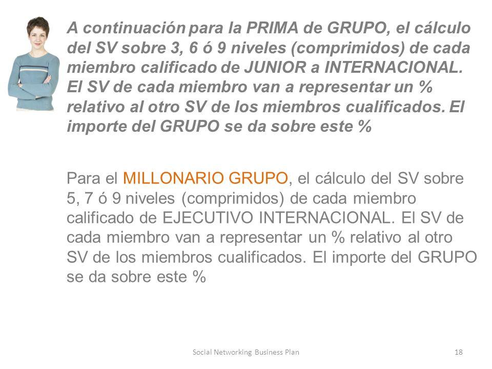 Social Networking Business Plan18 A continuación para la PRIMA de GRUPO, el cálculo del SV sobre 3, 6 ó 9 niveles (comprimidos) de cada miembro calificado de JUNIOR a INTERNACIONAL.