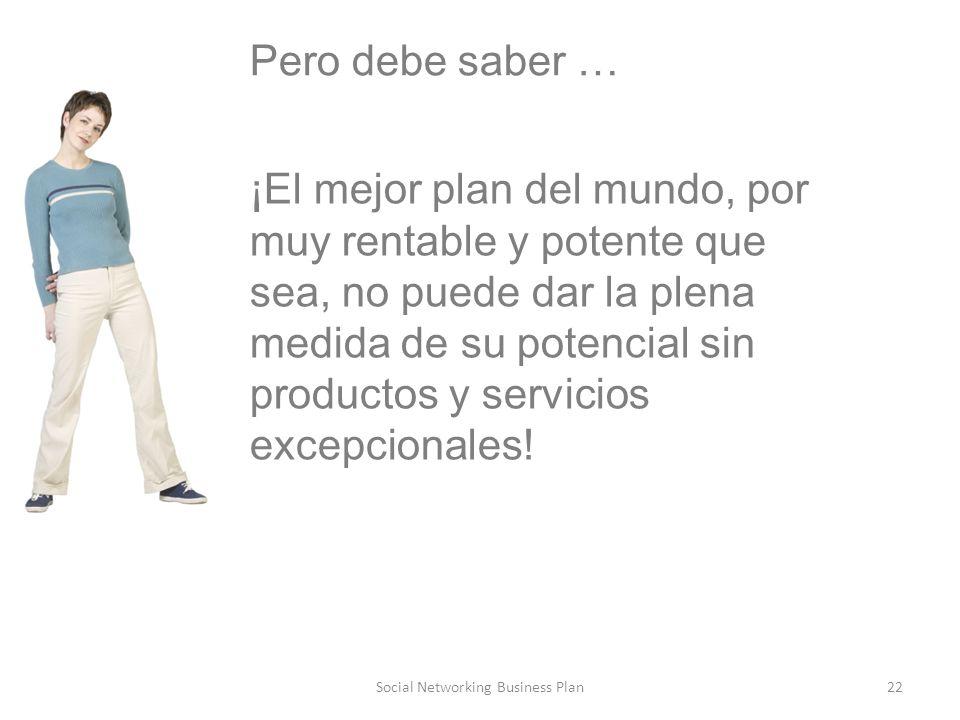 22Social Networking Business Plan Pero debe saber … ¡El mejor plan del mundo, por muy rentable y potente que sea, no puede dar la plena medida de su potencial sin productos y servicios excepcionales!