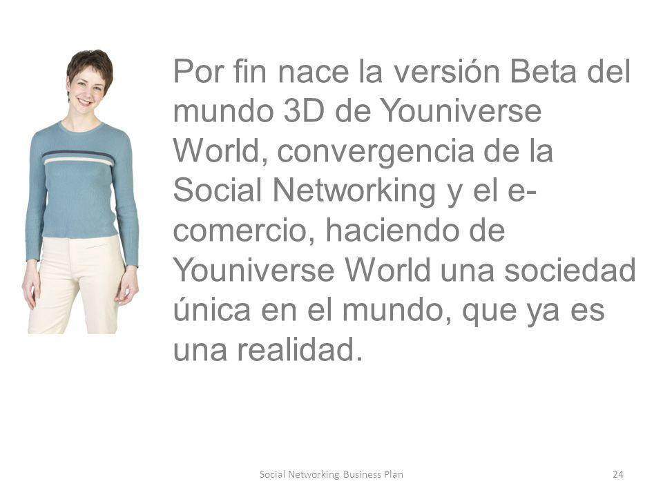 24Social Networking Business Plan Por fin nace la versión Beta del mundo 3D de Youniverse World, convergencia de la Social Networking y el e- comercio, haciendo de Youniverse World una sociedad única en el mundo, que ya es una realidad.