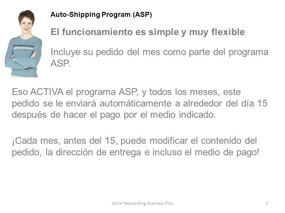 3Social Networking Business Plan Auto-Shipping Program (ASP) El funcionamiento es simple y muy flexible ¡Cada mes, antes del 15, puede modificar el contenido del pedido, la dirección de entrega e incluso el medio de pago.