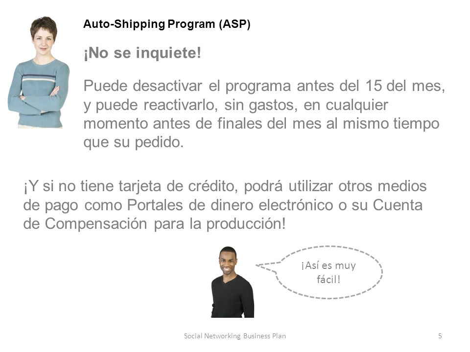 5Social Networking Business Plan Auto-Shipping Program (ASP) ¡No se inquiete.