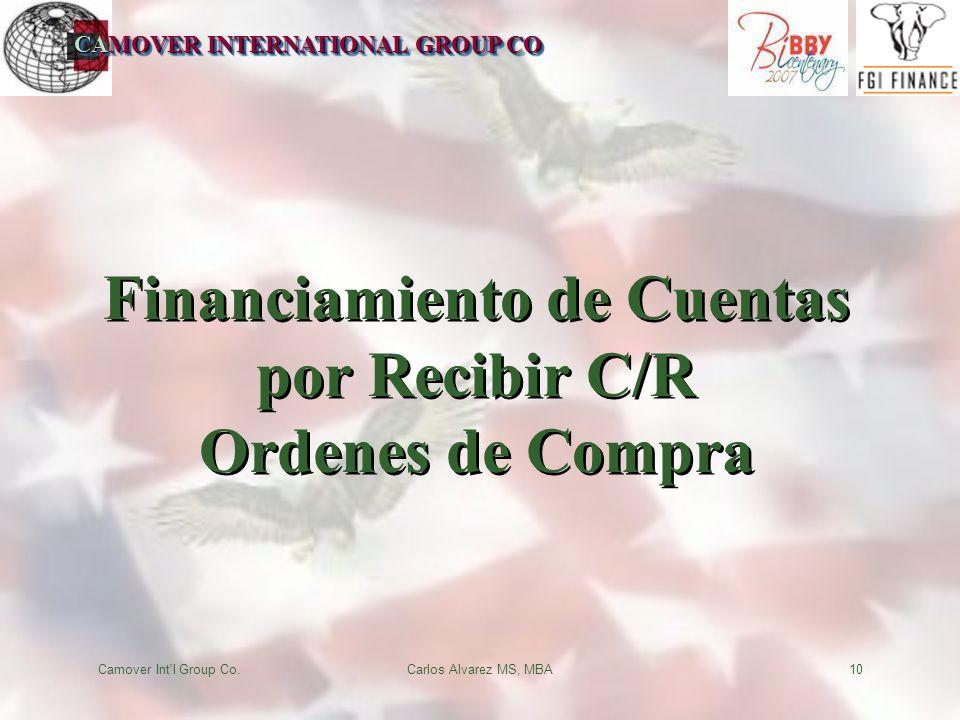CAMOVER INTERNATIONAL GROUP CO Camover Int l Group Co.Carlos Alvarez MS, MBA10 Financiamiento de Cuentas por Recibir C/R Ordenes de Compra