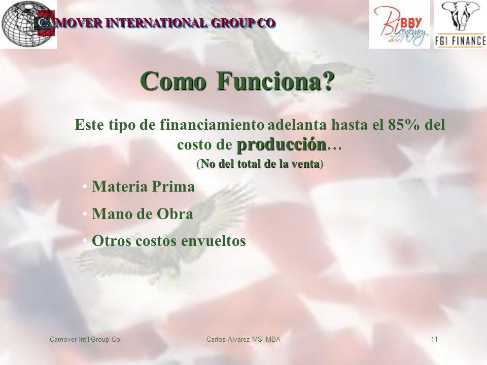 CAMOVER INTERNATIONAL GROUP CO Camover Int'l Group Co.Carlos Alvarez MS, MBA11 Como Funciona? producción Este tipo de financiamiento adelanta hasta el