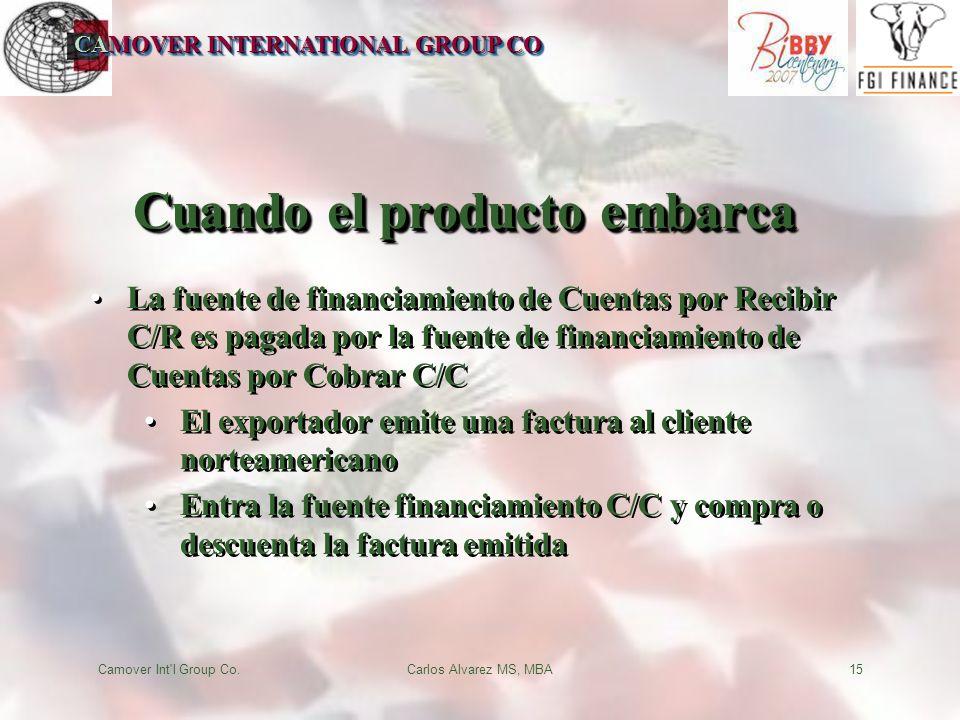 CAMOVER INTERNATIONAL GROUP CO Camover Int l Group Co.Carlos Alvarez MS, MBA15 Cuando el producto embarca La fuente de financiamiento de Cuentas por Recibir C/R es pagada por la fuente de financiamiento de Cuentas por Cobrar C/C El exportador emite una factura al cliente norteamericano Entra la fuente financiamiento C/C y compra o descuenta la factura emitida La fuente de financiamiento de Cuentas por Recibir C/R es pagada por la fuente de financiamiento de Cuentas por Cobrar C/C El exportador emite una factura al cliente norteamericano Entra la fuente financiamiento C/C y compra o descuenta la factura emitida