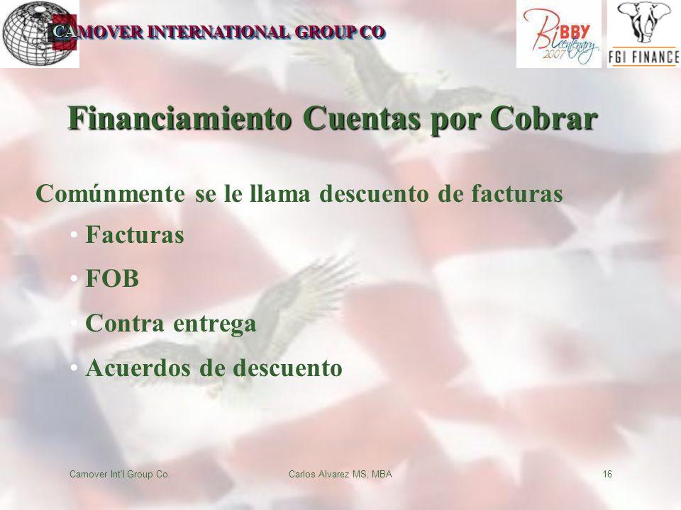 CAMOVER INTERNATIONAL GROUP CO Camover Int'l Group Co.Carlos Alvarez MS, MBA16 Financiamiento Cuentas por Cobrar Comúnmente se le llama descuento de f