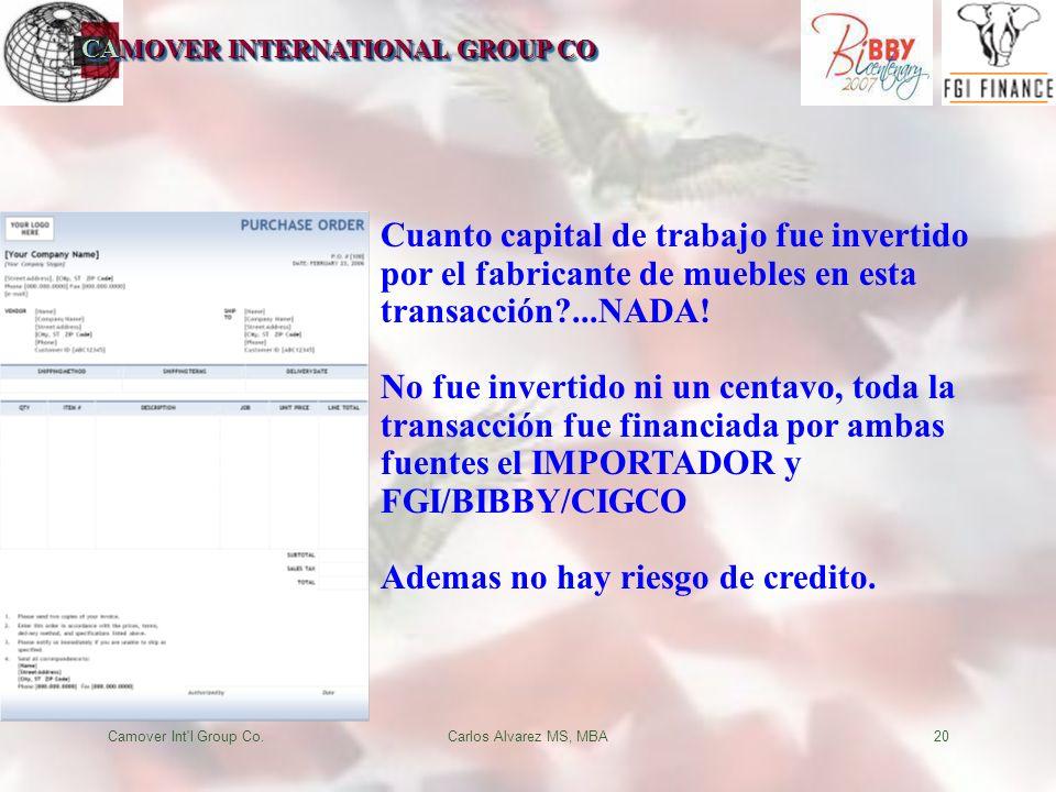 CAMOVER INTERNATIONAL GROUP CO Camover Int l Group Co.Carlos Alvarez MS, MBA20 Cuanto capital de trabajo fue invertido por el fabricante de muebles en esta transacción ...NADA.