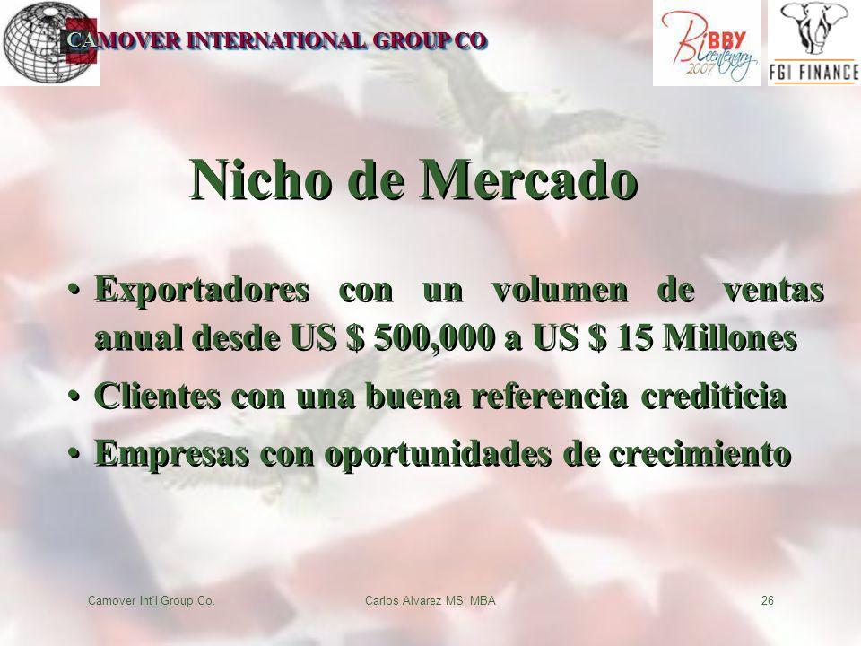 CAMOVER INTERNATIONAL GROUP CO Camover Int'l Group Co.Carlos Alvarez MS, MBA26 Nicho de Mercado Exportadores con un volumen de ventas anual desde US $