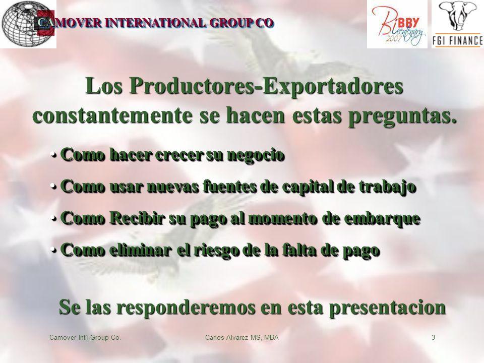 CAMOVER INTERNATIONAL GROUP CO Camover Int l Group Co.Carlos Alvarez MS, MBA3 Los Productores-Exportadores constantemente se hacen estas preguntas.