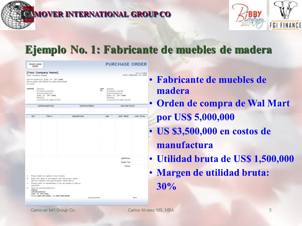 CAMOVER INTERNATIONAL GROUP CO Camover Int l Group Co.Carlos Alvarez MS, MBA5 Ejemplo No.