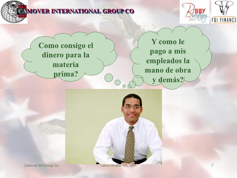 CAMOVER INTERNATIONAL GROUP CO Camover Int'l Group Co.Carlos Alvarez MS, MBA7 Como consigo el dinero para la materia prima? Y como le pago a mis emple