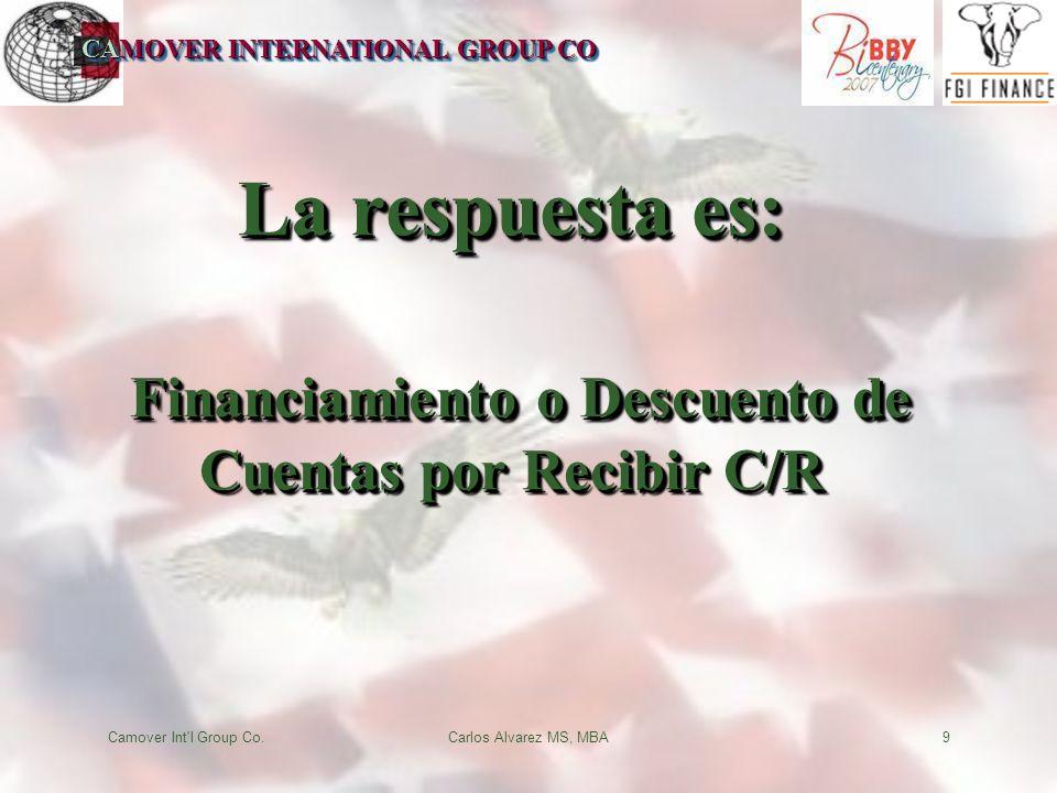 CAMOVER INTERNATIONAL GROUP CO Camover Int l Group Co.Carlos Alvarez MS, MBA9 La respuesta es: Financiamiento o Descuento de Cuentas por Recibir C/R