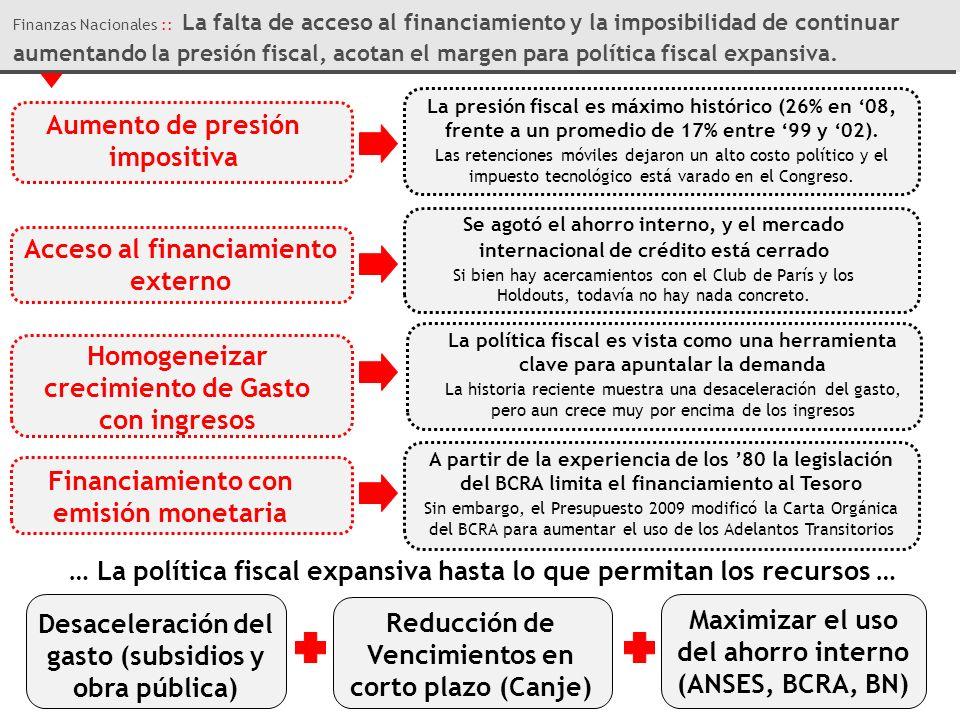 Finanzas Nacionales :: La falta de acceso al financiamiento y la imposibilidad de continuar aumentando la presión fiscal, acotan el margen para política fiscal expansiva.