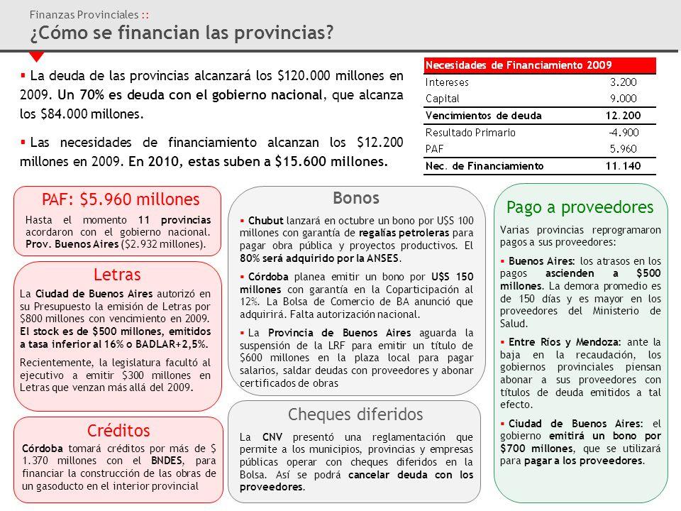 Finanzas Provinciales :: ¿Cómo se financian las provincias.