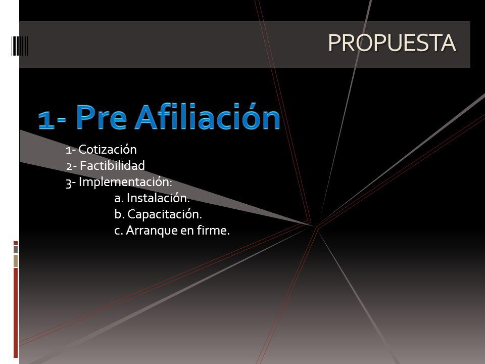 PROPUESTA 1- Cotización 2- Factibilidad 3- Implementación: a.
