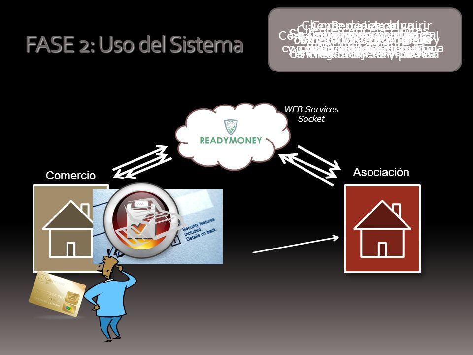 FASE 2: Uso del Sistema Comercio Asociación WEB Services Socket Se valida el monto Vrs.