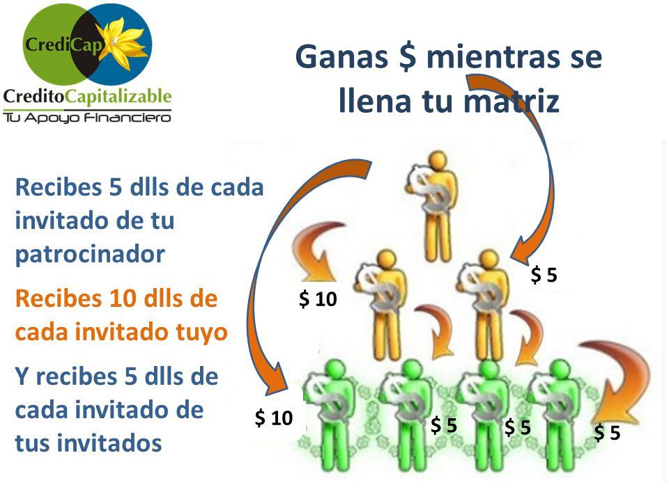 $ 5 Ganas $ mientras se llena tu matriz Recibes 5 dlls de cada invitado de tu patrocinador Recibes 10 dlls de cada invitado tuyo Y recibes 5 dlls de c