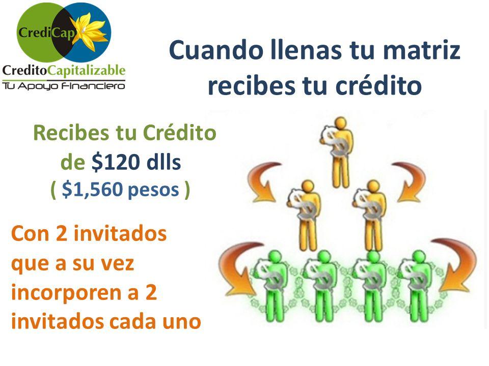 Cuando llenas tu matriz recibes tu crédito Recibes tu Crédito de $120 dlls ( $1,560 pesos ) Con 2 invitados que a su vez incorporen a 2 invitados cada