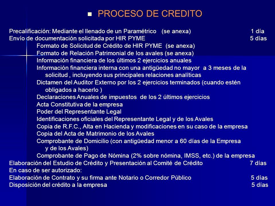 Precalificación: Mediante el llenado de un Paramétrico (se anexa) 1 día Envío de documentación solicitada por HIR PYME 5 días Formato de Solicitud de