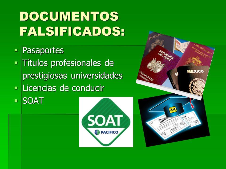 DOCUMENTOS FALSIFICADOS: Pasaportes Pasaportes Títulos profesionales de Títulos profesionales de prestigiosas universidades Licencias de conducir Lice