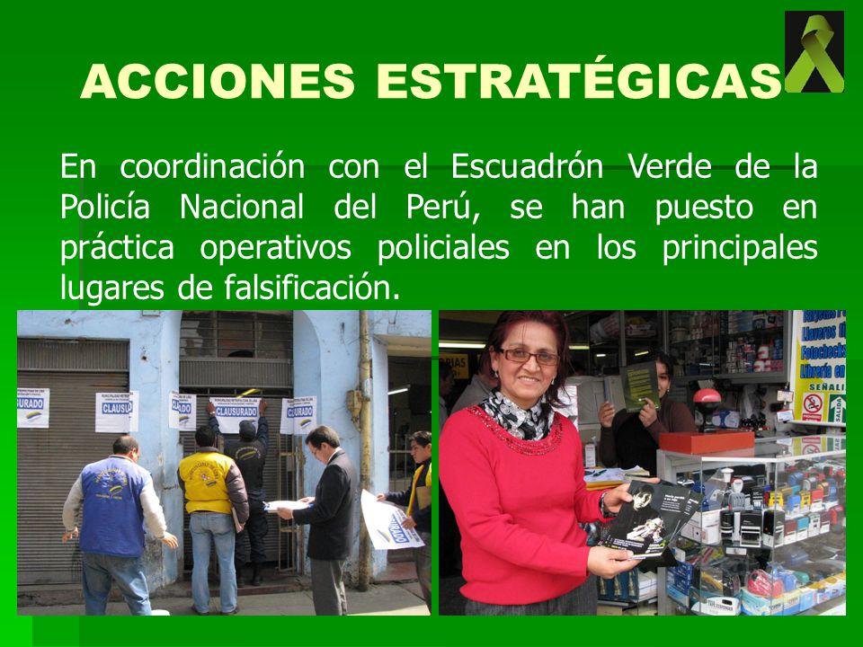 En coordinación con el Escuadrón Verde de la Policía Nacional del Perú, se han puesto en práctica operativos policiales en los principales lugares de