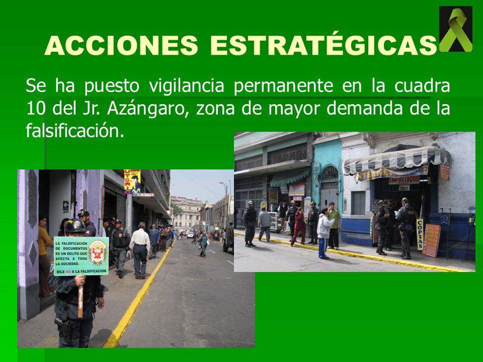 Se ha puesto vigilancia permanente en la cuadra 10 del Jr. Azángaro, zona de mayor demanda de la falsificación. ACCIONES ESTRATÉGICAS