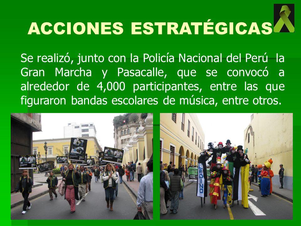 Se realizó, junto con la Policía Nacional del Perú la Gran Marcha y Pasacalle, que se convocó a alrededor de 4,000 participantes, entre las que figura