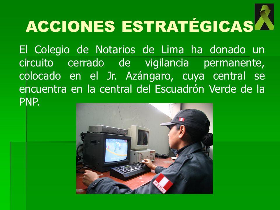El Colegio de Notarios de Lima ha donado un circuito cerrado de vigilancia permanente, colocado en el Jr. Azángaro, cuya central se encuentra en la ce
