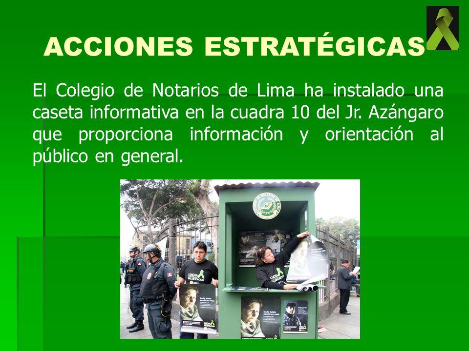 El Colegio de Notarios de Lima ha instalado una caseta informativa en la cuadra 10 del Jr. Azángaro que proporciona información y orientación al públi