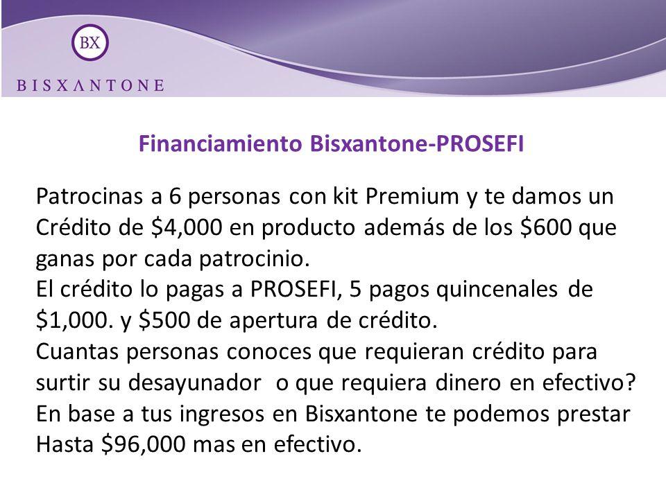 Financiamiento Bisxantone-PROSEFI Patrocinas a 6 personas con kit Premium y te damos un Crédito de $4,000 en producto además de los $600 que ganas por