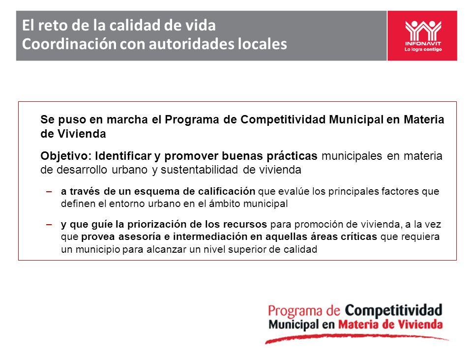 El reto de la calidad de vida Coordinación con autoridades locales Se puso en marcha el Programa de Competitividad Municipal en Materia de Vivienda Ob