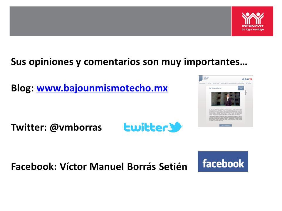 Sus opiniones y comentarios son muy importantes… Blog: www.bajounmismotecho.mxwww.bajounmismotecho.mx Twitter: @vmborras Facebook: Víctor Manuel Borrás Setién