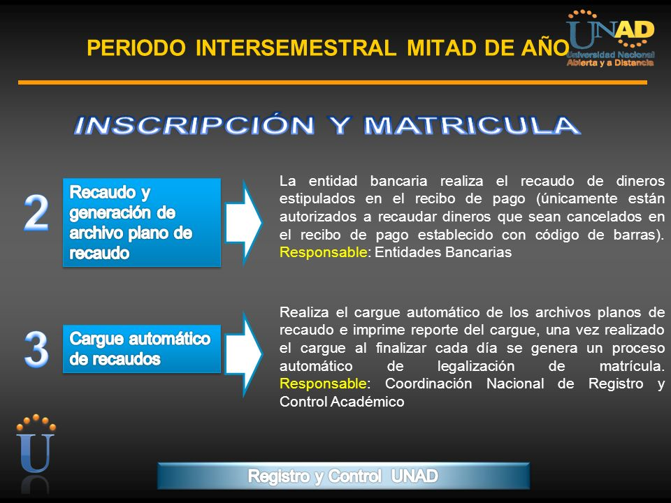 PROGRAMA FORMACIÓN DE FORMADORES PERIODO INTERSEMESTRAL MITAD DE AÑO La entidad bancaria realiza el recaudo de dineros estipulados en el recibo de pag