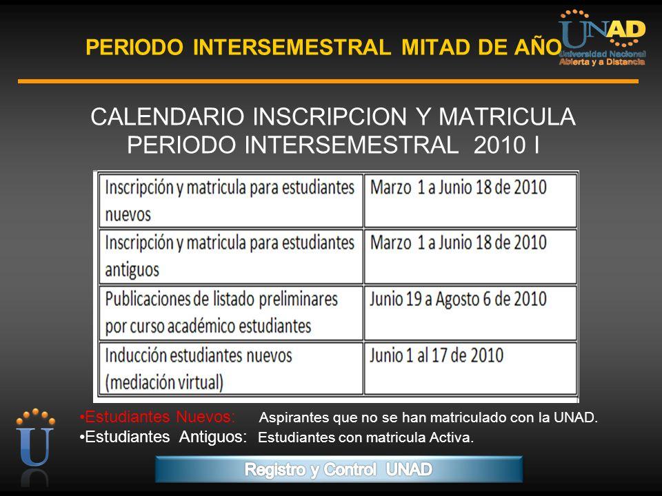 PROGRAMA FORMACIÓN DE FORMADORES PERIODO INTERSEMESTRAL MITAD DE AÑO CALENDARIO INSCRIPCION Y MATRICULA PERIODO INTERSEMESTRAL 2010 I Estudiantes Nuev