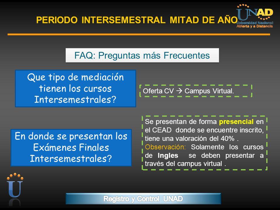 PROGRAMA FORMACIÓN DE FORMADORES PERIODO INTERSEMESTRAL MITAD DE AÑO FAQ: Preguntas más Frecuentes. Que tipo de mediación tienen los cursos Intersemes