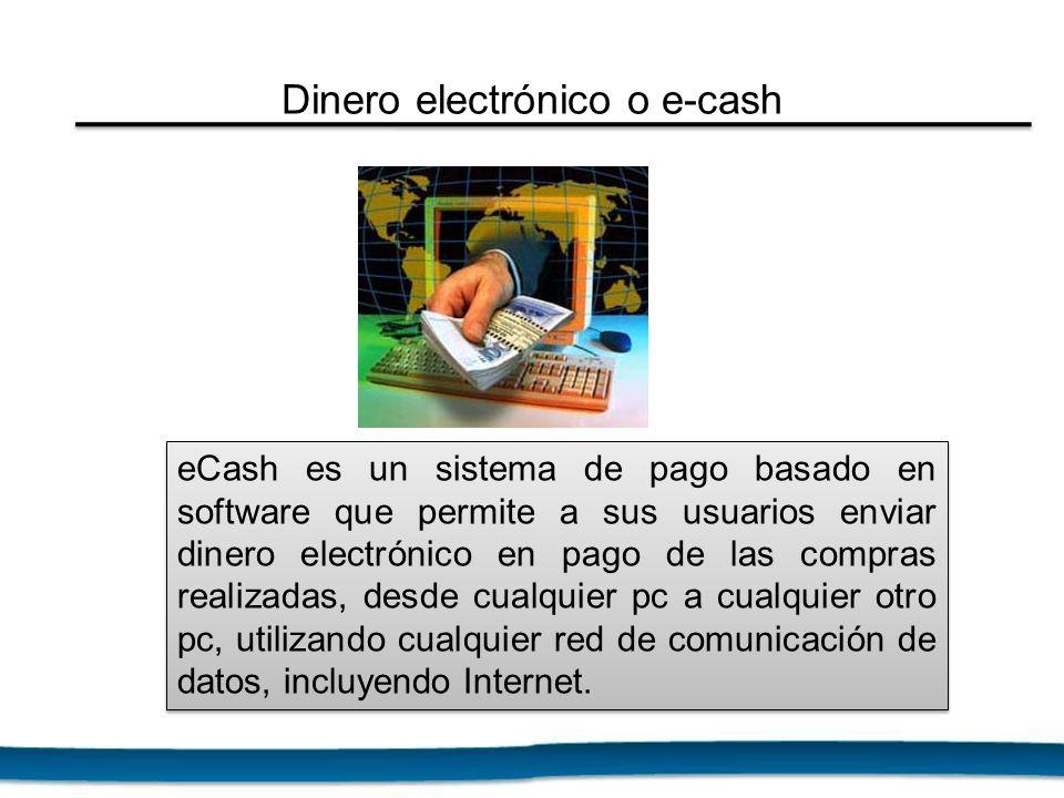 eCash es un sistema de pago basado en software que permite a sus usuarios enviar dinero electrónico en pago de las compras realizadas, desde cualquier