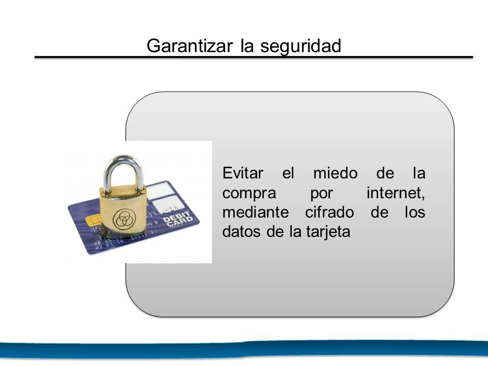 Evitar el miedo de la compra por internet, mediante cifrado de los datos de la tarjeta Garantizar la seguridad