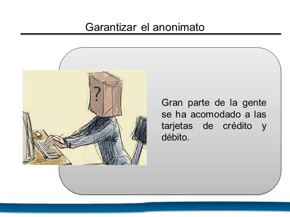 Gran parte de la gente se ha acomodado a las tarjetas de crédito y débito. Garantizar el anonimato