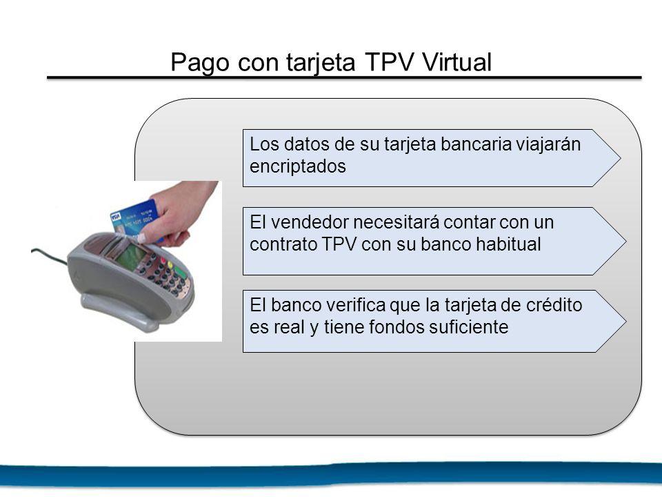 Los datos de su tarjeta bancaria viajarán encriptados El vendedor necesitará contar con un contrato TPV con su banco habitual El banco verifica que la