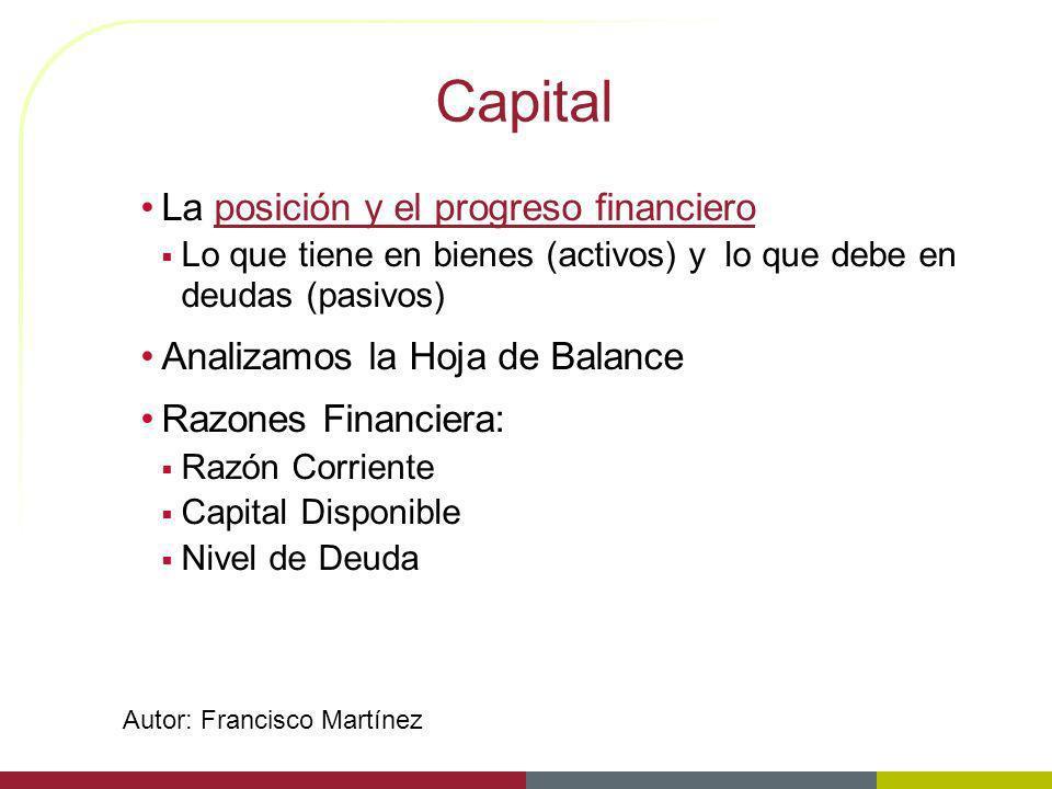 Capital La posición y el progreso financiero Lo que tiene en bienes (activos) y lo que debe en deudas (pasivos) Analizamos la Hoja de Balance Razones