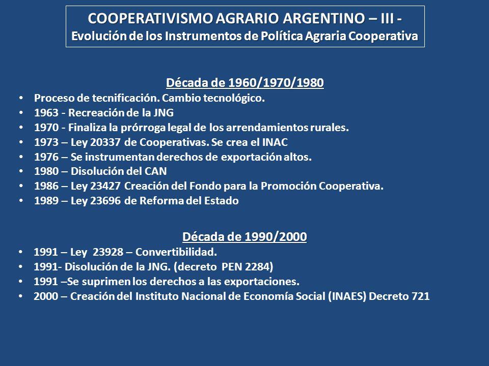 Década de 1960/1970/1980 Proceso de tecnificación. Cambio tecnológico. 1963 - Recreación de la JNG 1970 - Finaliza la prórroga legal de los arrendamie