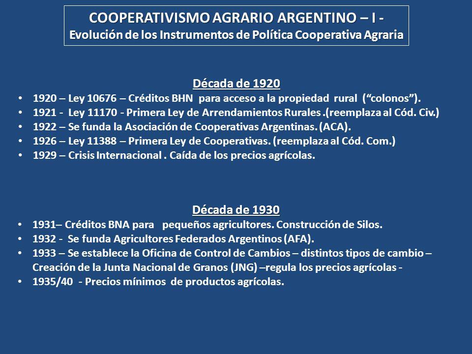COOPERATIVISMO AGRARIO ARGENTINO – II - Evolución de los Instrumentos de Política Agraria Cooperativa Década de 1950 1950/55 – Doble tipo de cambio para los granos – precios internacionales en alza – aumento de costos de producción.